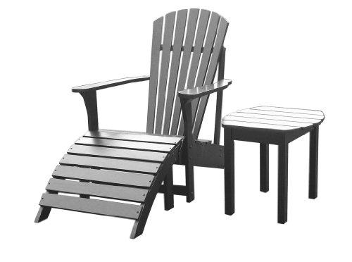 SOLID ACACIA  TEAK ADIRONDACK CHAIR  OTTOMAN  SIDE TABLE - PAINTED BLACK