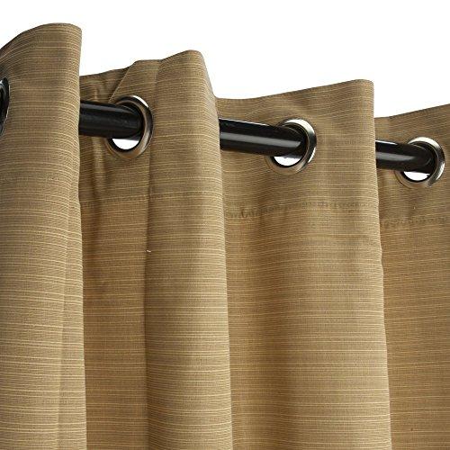 Sunbrella Outdoor Curtain-nickle Grommets - Dupione Bamboo