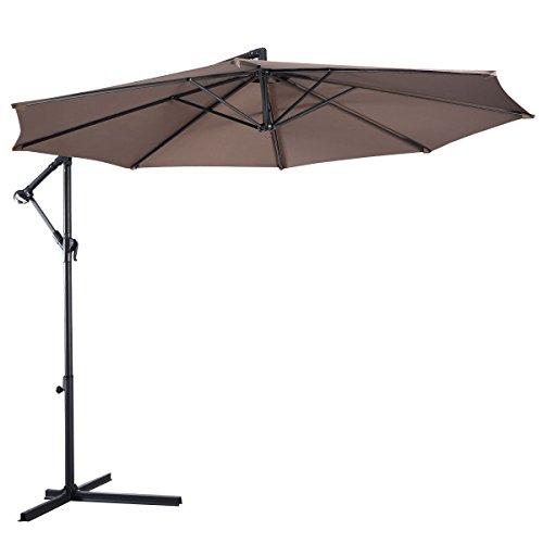Giantex 10 Hanging Umbrella Patio Sun Shade Offset Outdoor Market Wt Cross Base tan
