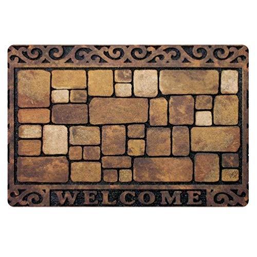 Coloranimal Welcome Door Mat Funny Manor Patio Stones Design Doormat for Bathroom Kitchen High Traffic Area Rugs Durable Entrance Mats 40 x 60 cm