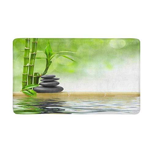 INTERESTPRINT Spa Concept Zen Basalt Stones Front Door Mat 30 X 18 Inches Welcome Doormat for Home Indoor Entrance Kitchen Patio