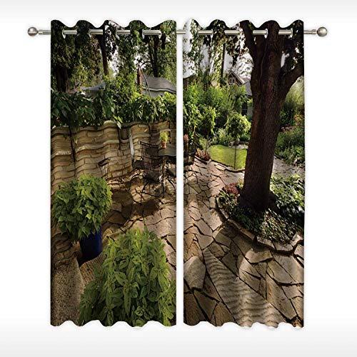 MOOCOM Landscaped Garden Back Yard Patio with Stone Wall Soft Window CurtainPavers for Nursery58W x 54H