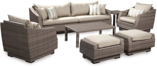 RST Brands 8-Piece Cannes Sofa and Club Chair Deep Seating Group Patio Furniture Set Slate Gray