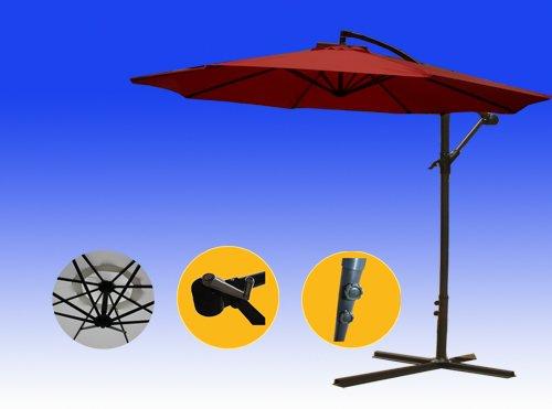 Brightent Patio Umbrella 10 Parasol Garden Beach Tilting Tent Canopy Three Different Color wine Red Xu30r