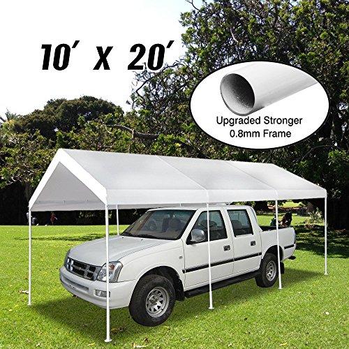 Vidagoods Patio 10x20 Feet 8 Legs Heavy Duty Garage Outdoor White Carport Car Shelter Canopy Party Tent Long Term