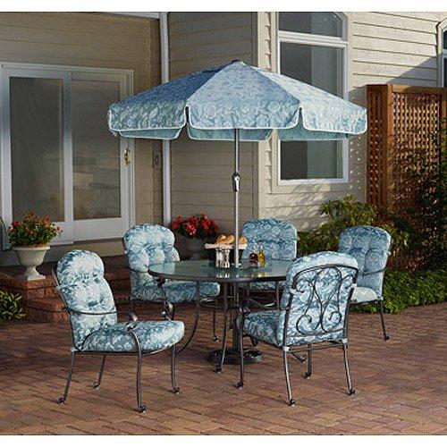 Mainstays Willow Springs 6-piece Patio Dining Set Blue Seats 5