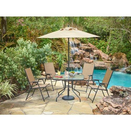 Outdoor 6-piece Folding Patio Dining Furniture Set With Umbrella Seats 4