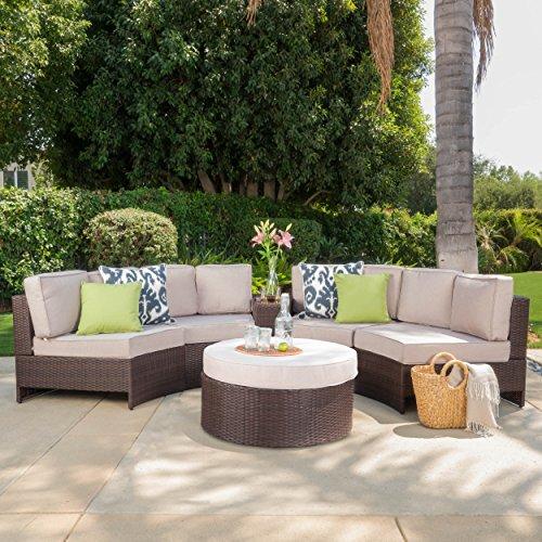 Riviera Portofino Outdoor Patio Furniture Wicker 6 Piece Semicircular Sectional Sofa Seating Set W Waterproof
