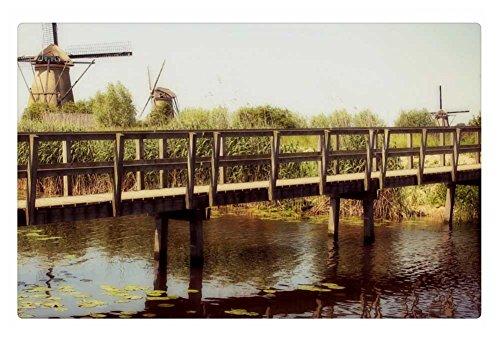 Irocket Indoor Floor Rugmat - Bridge Over Pond In Windmill Country 236 X 157 Inches
