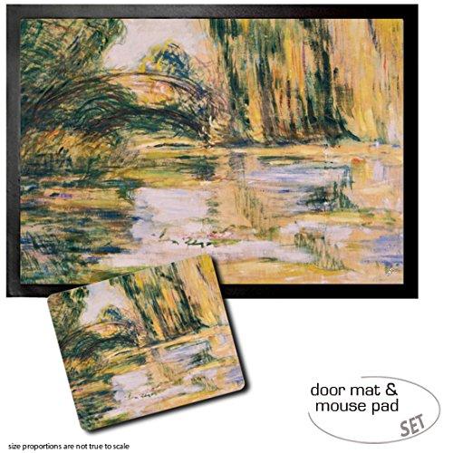 Set 1 Door Mat Floor Mat 28x20 inches  1 Mouse Pad 9x7 inches - Claude Monet Waterlily Pond The Bridge 1899