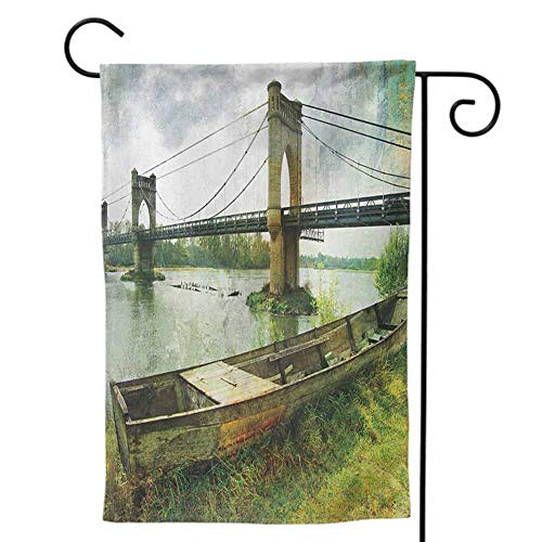 Mannwarehouse Holiday Flag Welcome Yard Decor Double-Sided Printing for Home Landscape Bridge and Old Boat on Riverside Distressed Paint Style Nostalgic City Picture Green Grey12 x18 inch