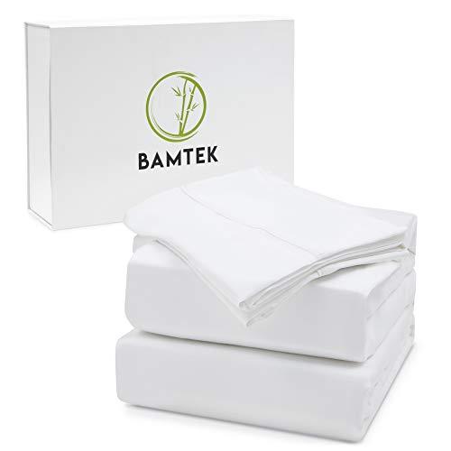 Bamtek 100 Organic Bamboo Sheet Set Queen Size Silky Soft Luxury Like Sleeping in a Cloud Deep Pockets 2 Pillowcases 1 Fitted sheet 1 Flat Sheet