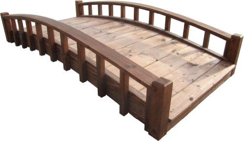 SamsGazebos Moon Bridges Japanese Style Arched Wood Garden Bridges 6-Feet Brown