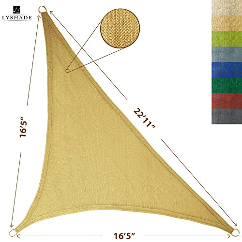 LyShade Sun Shade Sail Canopy Right Triangle 165 x 165 x 2211 Sand - UV Block for Patio and Outdoor