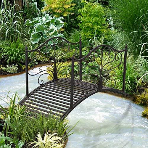 4 Metal Decorative Garden Bridge Arc Walkway Side Rails Scrollwork Backyard Pond Stream Outdoor Lawn Decor Black Bronze