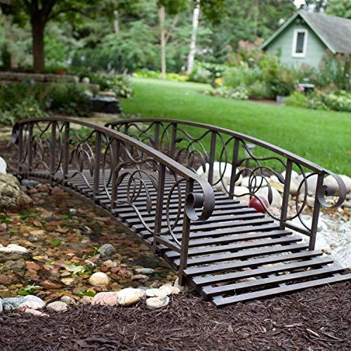 Arrieta Apparel 8-Ft Metal Garden Bridge in Weathered Black Finish - 750-lb Weight Capacity