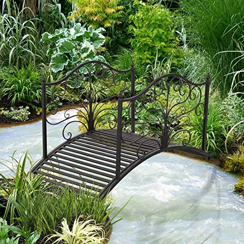 Festnight Outdoor Metal Garden Bridge Patio Backyard Decorative Bridge Black Bronze 4