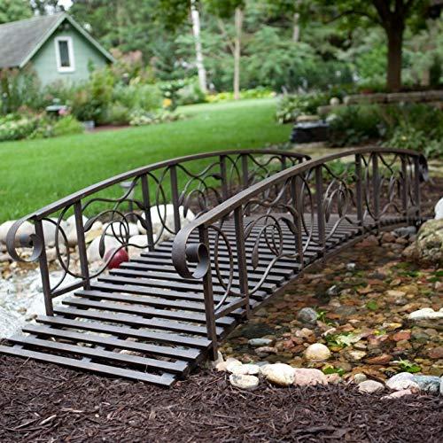 Home Improvements 8 Foot Weathered Black Scrolled Metal Garden Bridge Outdoor Lawn Landscaping Decor
