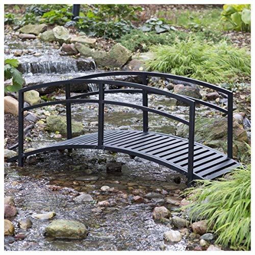 PROGLEAM Garden Bridge Sturdy 6-Foot Black Metal Garden Bridge with Double Arch Side Rails