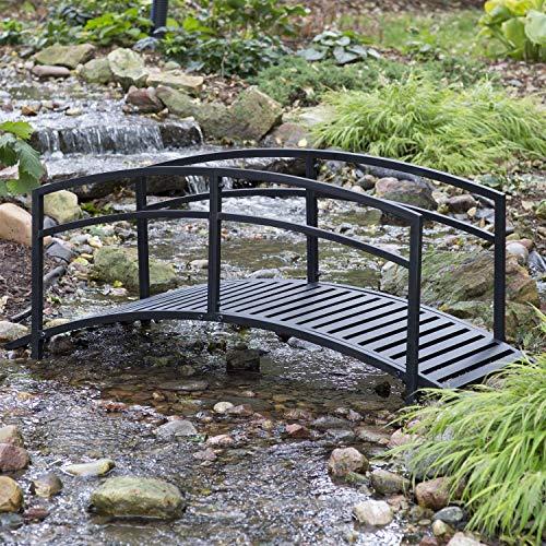 Sturdy 6-Foot Black Metal Garden Bridge with Double Arch Side Rails