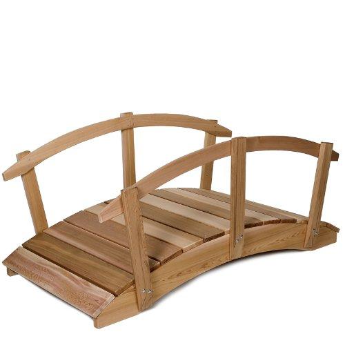All Things Cedar FB72U-R Garden Foot Bridge with Hand Rails 6 Foot
