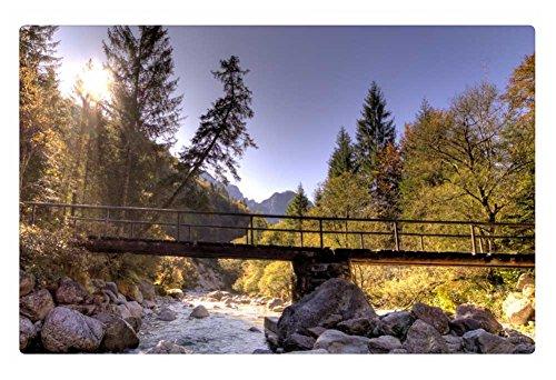 Irocket Indoor Floor Rugmat - Foot Bridge Over Rocky Mountain River Hdr 236 X 157 Inches