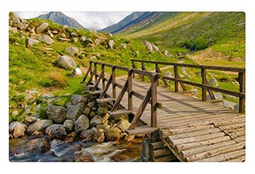 Irocket Indoor Floor Rugmat - Wooden Foot Bridge Over Mountain Stream 236 X 157 Inches