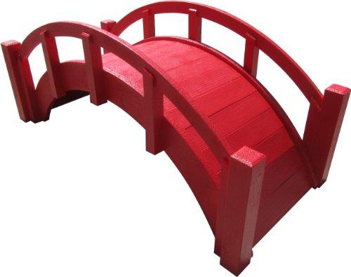 Samsgazebos Miniature Japanese Wood Garden Bridge Red Assembled 25&quot Long X 11&quot Tall X 11-12&quot Wide Made In