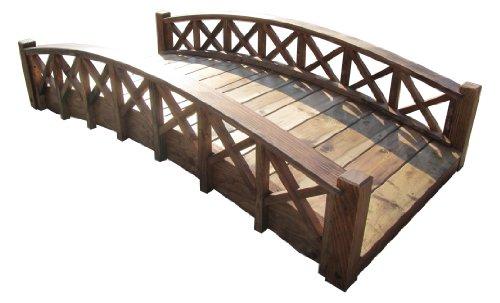 Samsgazebos Swan Wood Garden Bridge With Cross Halved Lattice Railings 6-feet Brown