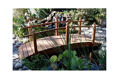 10 ft Single Rail Redwood Garden Bridge 10 ft Single Rail w Lights