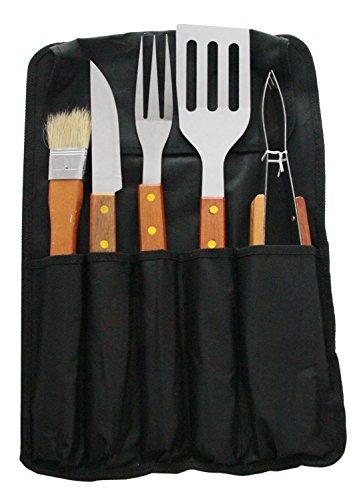 JustNile 5-Piece Stainless Steel BBQ Utensil Tool Set - Wood Handles w Carrier