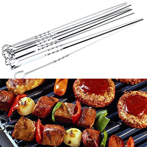 Stainless Steel BBQ UTENSIL Skewers Barbeque Kabob Needle Fork 15 inch 10PCS