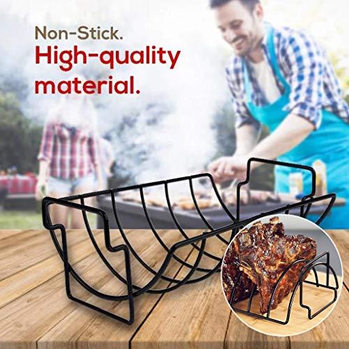 Nesee Rib Rack Grill Racks Pork Rib Rack Non Stick Rib Rack BBQ for Porcelain Coated Steel Roasting Stand Holds 5 Rib Racks for Grilling Barbecuing