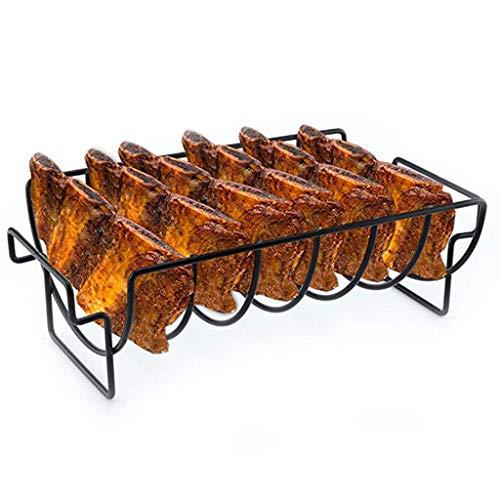 Quaanti Non-Stick Rib Rack - Roasting Stand Holder - Holds 6 Rib Racks for Grilling BarbecuingBBQ Accessories Grill Accessories Grill Rack for Ribs Steel Rib Rack Rib Stand Black