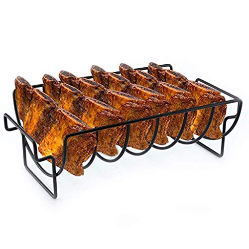 youeneom BBQ Rib Racks for Smoking and Grilling Rack Barbecue Grilling BBQ Accessories Large Non-Stick Stainless Steel Rib Roast Rack Holder for Grilling to Hold 6 Rib Shipping from USA East