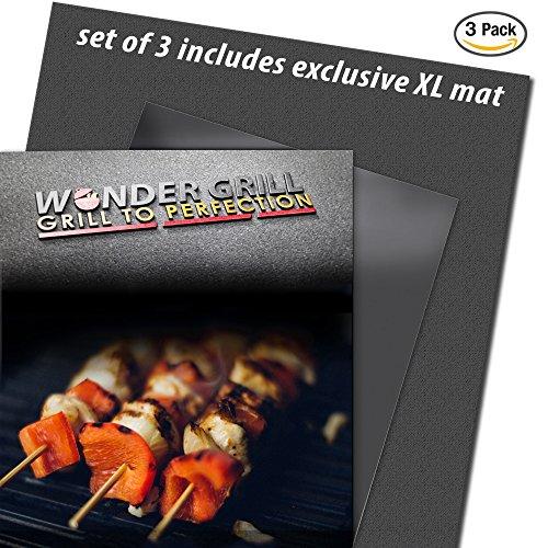 Wonder Grill Mat Set Of 3 Bbq Mats Includes 1 Exclusive Xl Size Grilling Sheet Heavy Duty Teflon Coated Pfoa