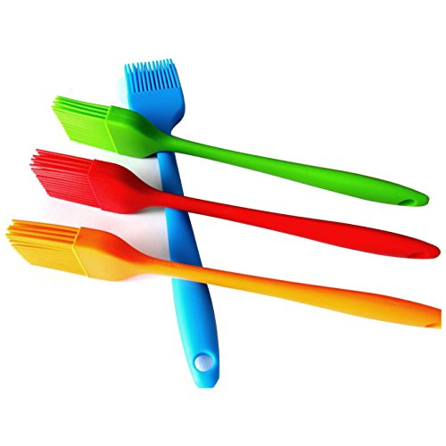 HornTide 4-Piece Silicone Brush Set Pastry Basting Grill Barbecue 85-Inch Heat Resistant Withstand 230°C 446°F Premium Cooking Utensils Multi-Color Brushes
