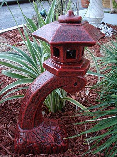 Concrete Statue Red Pagoda Bow Lantern Oriental Lantern Japanese Decor Art Home Garden 175HT