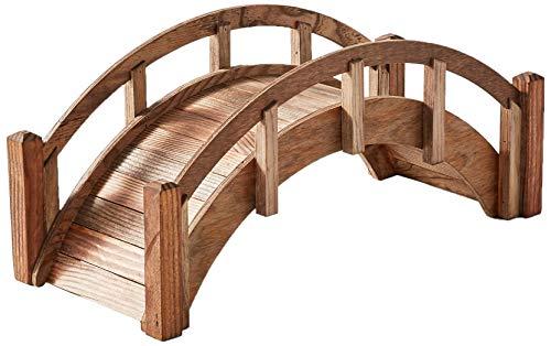 SamsGazebos Miniature Japanese Wood Garden Bridge Treated Assembled 25 Long X 11 Tall X 11-12 Wide Made in USA