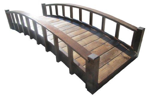 SamsGazebos Moon Bridges Japanese Style Arched Wood Garden Bridges 8-Feet Brown