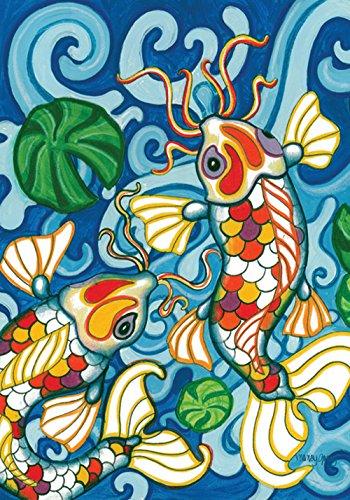 Toland Home Garden Coy Koi 125 x 18 Inch Decorative Colorful Japanese Fish Pond Design Garden Flag