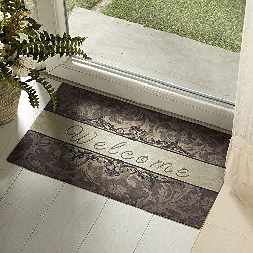 Amagebeli 18&quot X 30&quot Welcome Indoor Door Mat Non-slip Printing Doormat Floral Leaf Rug Carpet Entrance Floor Mats