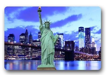 Brooklyn Bridge and The Statue of Liberty Customized Novelty Rug Bathroom Carpets Doormat Indoor or Outdoor Floor Door Mat 236x157 Inches