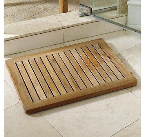 Grade-a Teak Wood Rectangular 24&quot Door  Shower Spa  Bath Floor Mat With Rounded Corners In Natural