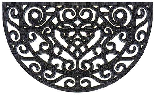 Half Round Rubber Doormat Scroll For Entrance Waywashable Indooroutdoor Recycle Rubber Floor Rug  Cast Iron