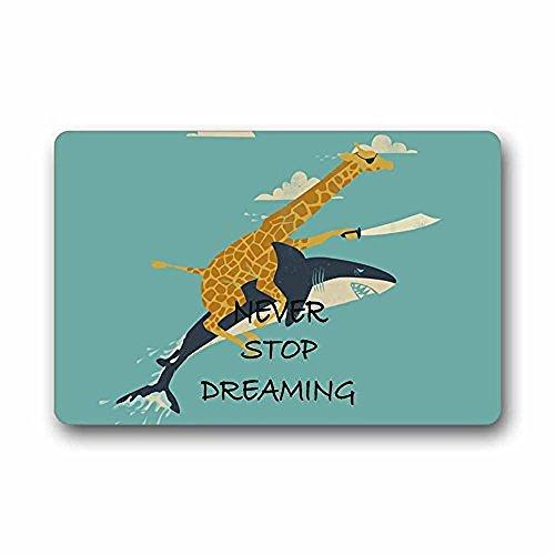 Heymat Custom Giraffe Riding Shark Never Stop Dreaming Machine-Washable Door Mat IndoorOutdoor Doormat Kitchen Decor Floor Mats Rugs 236 X 157 Inches