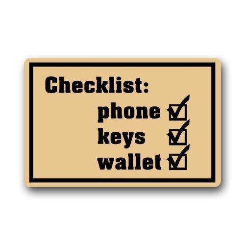 Non-slip Rectangle Funny Humorous Doormat Checklist Phone Keys Wallet Design Indoor And Outdoor Entrance Floor