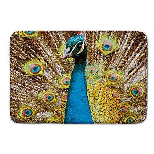 Pretty Peacock Bird Rug Bath Doormats Indoor Outdoor Floor Door Mats Gate Pad Blue Gold Yellow