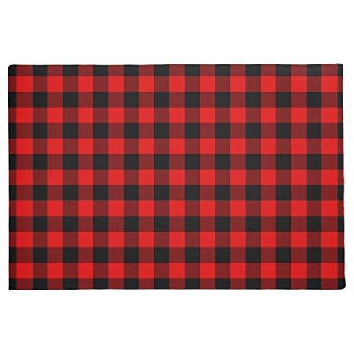 Rubber Front Floor Door MATS Traditional Red Black Buffalo Check Plaid Pattern Doormat Welcome Door Mats Indoor Outdoor