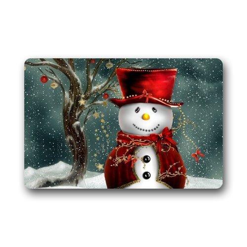 SHININGLY Generic Customize New Fashion Design Decorative Funny Retro Vintage Welcome Snowman Doormat Durable Heat-Resistant Non-Woven Fabric Top Doormat Size 18Lx30Wabout 46cmLx85cmWGarden Home Outdoor Indoor Use non-slip Door Floor Entranc